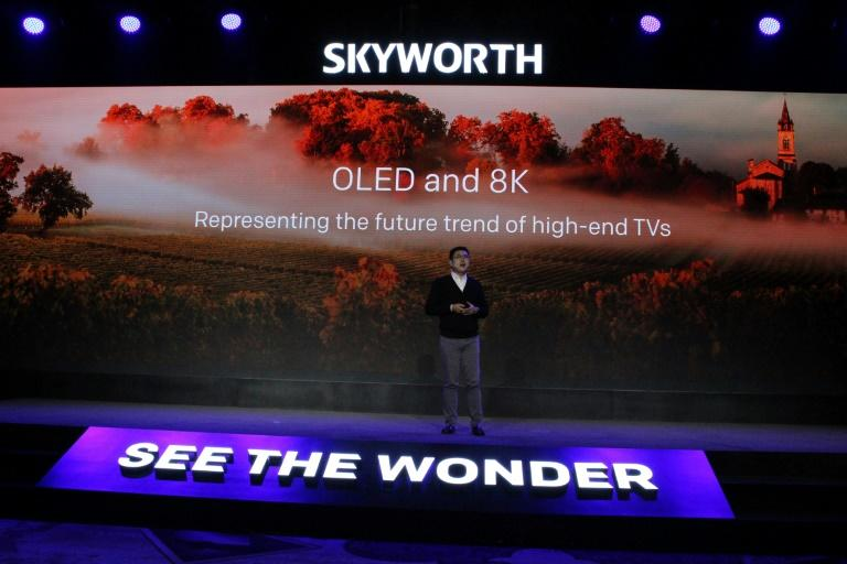 Skyworth chief executive Tony Wang unveils premium 8K TV models at CES on January 5