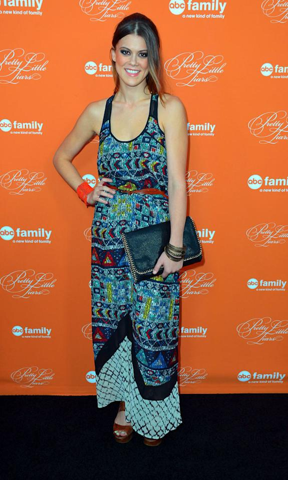 """Lindsey Shaw arrives at the screening of ABC Family's """"Pretty Little Liars"""" Special Halloween Episode at Hollywood Forever Cemetery on October 16, 2012 in Hollywood, California."""