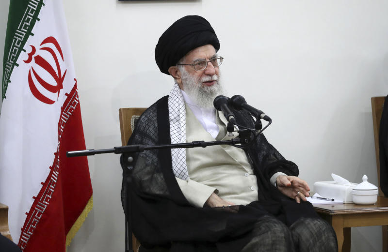 In this picture released on Wednesday, June 19, 2019, by the official website of the office of the Iranian supreme leader, Supreme Leader Ayatollah Ali Khamenei speaks in a meeting at his residence in Tehran, Iran. President Donald Trump signed an executive order on Monday, June 24, 2019, targeting Iran's supreme leader and his associates with financial sanctions, the latest action the U.S. has taken to discourage Tehran from developing nuclear weapons and supporting militant groups. (Office of the Iranian Supreme Leader via AP)