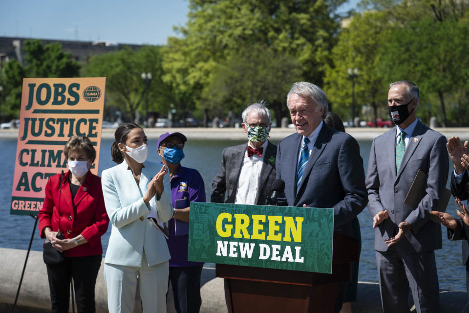 Sen. Ed Markey (D-MA) speaks during a news conference held to re-introduce the Green New Deal at the West Front of the U.S. Capitol on April 20, 2021 in Washington, DC. The news conference was held ahead of Earth Day later this week. (Sarah Silbiger/Getty Images)