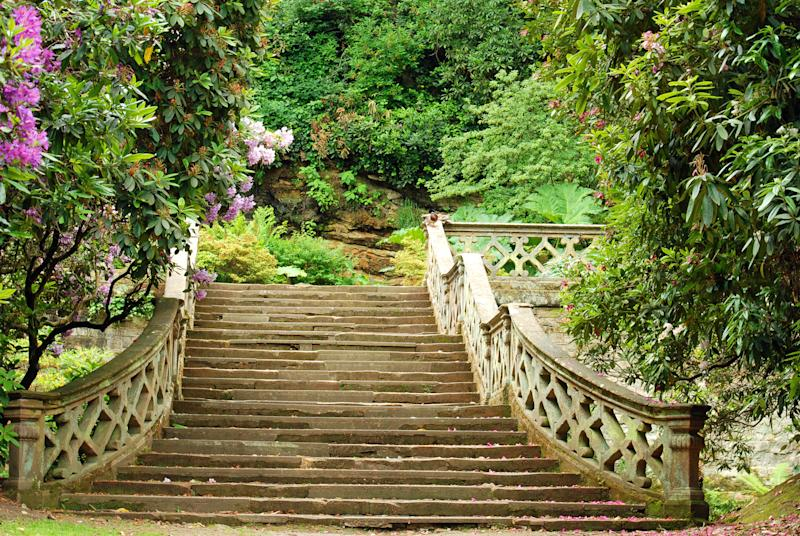 closeup stone stairs in Hever Castle gardens England