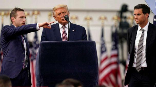 PHOTO: President Donald Trump checks the stage before his speech from the South Lawn of the White House on the fourth day of the Republican National Convention, Aug. 27, 2020, in Washington. (Evan Vucci/AP)