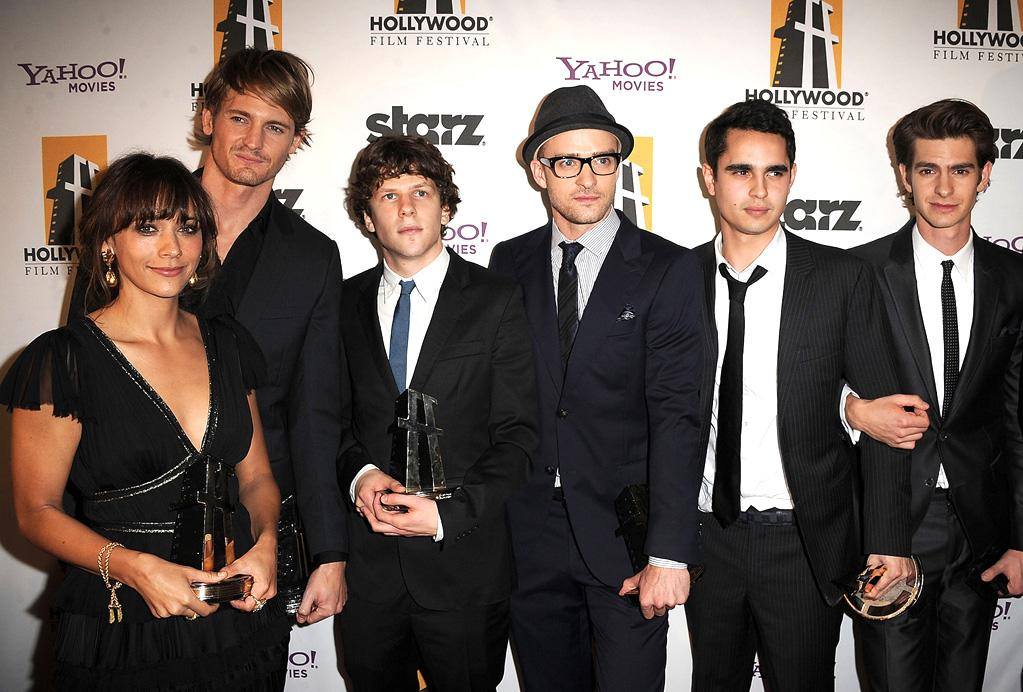 """<a href=""""http://movies.yahoo.com/movie/contributor/1804504112"""">Rashida Jones</a>, <a href=""""http://movies.yahoo.com/movie/contributor/1810178122"""">Josh Pence</a>, <a href=""""http://movies.yahoo.com/movie/contributor/1804705920"""">Jesse Eisenberg</a>, <a href=""""http://movies.yahoo.com/movie/contributor/1802867309"""">Justin Timberlake</a>, <a href=""""http://movies.yahoo.com/movie/contributor/1808617316"""">Max Minghella</a> and <a href=""""http://movies.yahoo.com/movie/contributor/1809693250"""">Andrew Garfield</a> attend the 14th Annual Hollywood Awards Gala at the Beverly Hilton Hotel on October 25, 2010."""