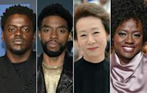 (L-R) British actor Daniel Kaluuya, the late Chadwick Boseman, South Korea's Youn Yuh-jung and Viola Davis are all among the favorites to win Oscars -- reflecting the increased diversity in the 2021 nominees