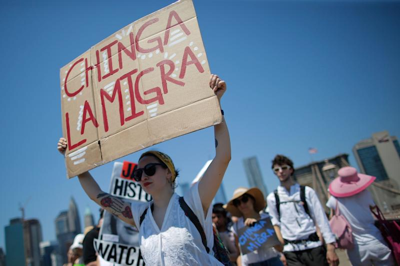 Demonstrators march in protest against the separation of immigrant families, June 30, 2018 in New York. - Demonstrations are being held across the US Saturday against President Donald Trump's hardline immigration policy. (Photo by EDUARDO MUNOZ ALVAREZ / AFP) (Photo credit should read EDUARDO MUNOZ ALVAREZ/AFP/Getty Images)