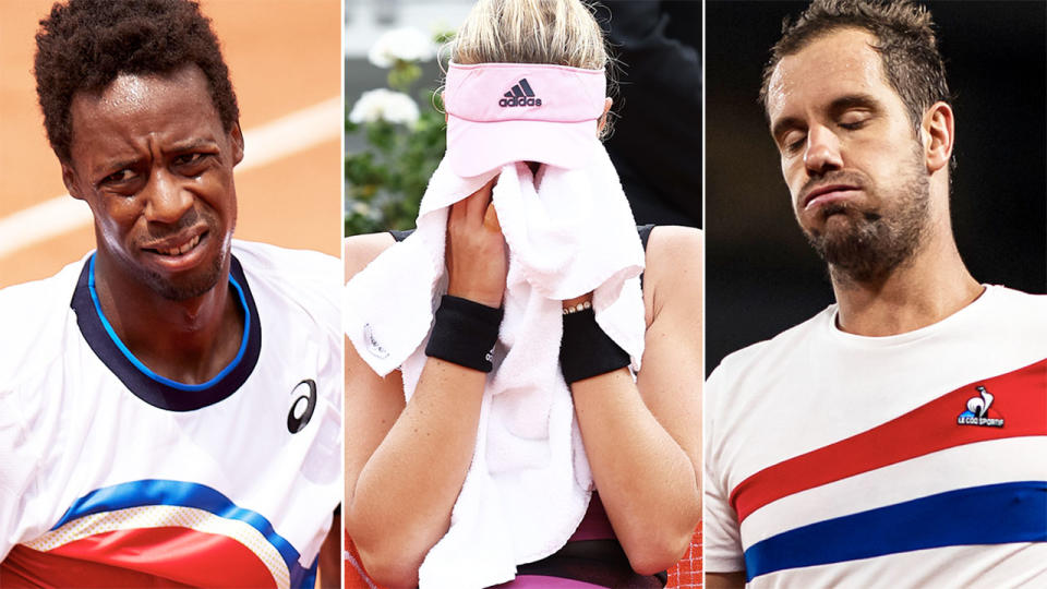 Gael Monfils, Kristina Mladenovic and Richard Gasquet, pictured here in action at the French Open.
