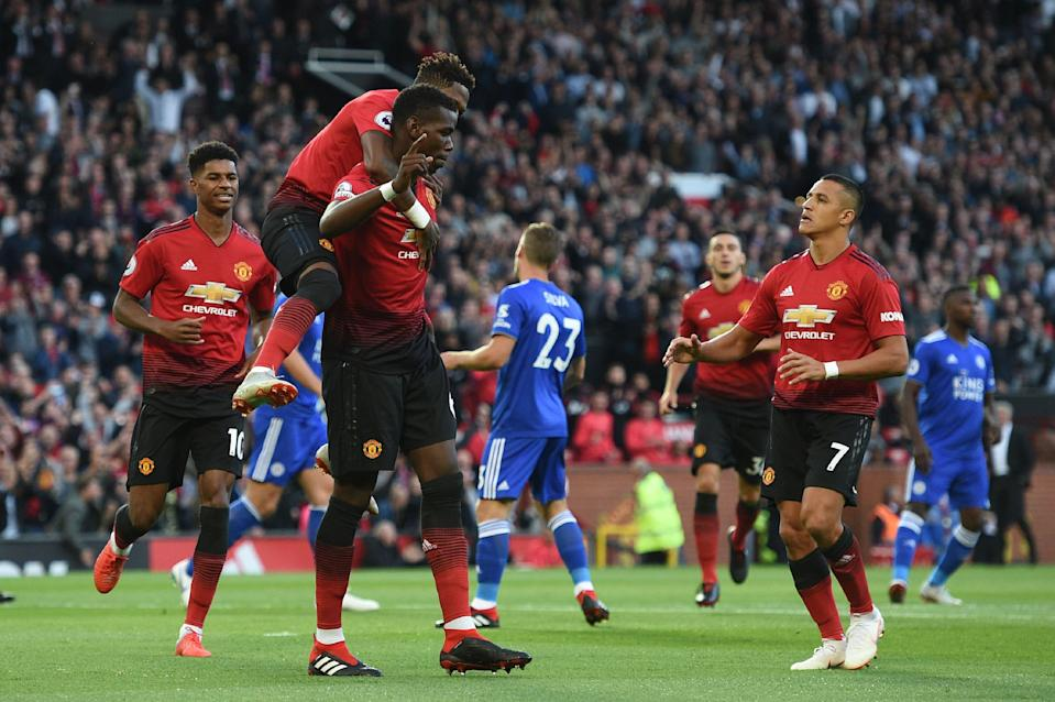 Paul Pogba celebrates his goal for Manchester United against Leicester City – the first of the 2018-19 Premier League season. (Getty)