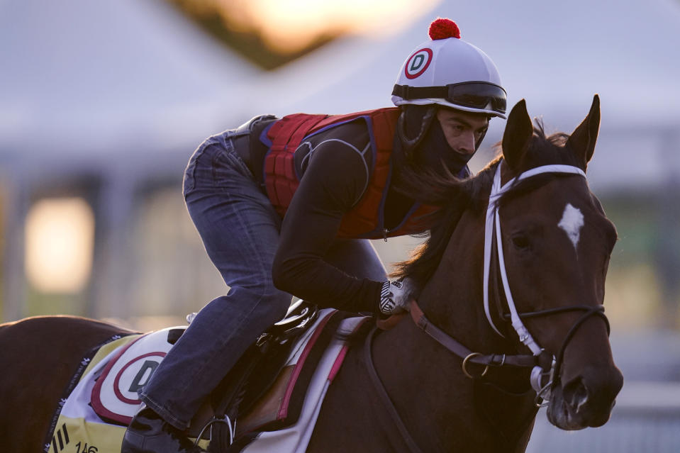 Preakness entrant Keepmeinmind works out during a training session ahead of the Preakness Stakes horse race at Pimlico Race Course, Wednesday, May 12, 2021, in Baltimore. (AP Photo/Julio Cortez)