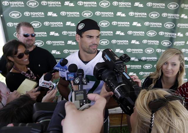 New York Jets' Eric Decker responds to questions during NFL football training camp Thursday, July 24, 2014, in Cortland, N.Y. (AP Photo)