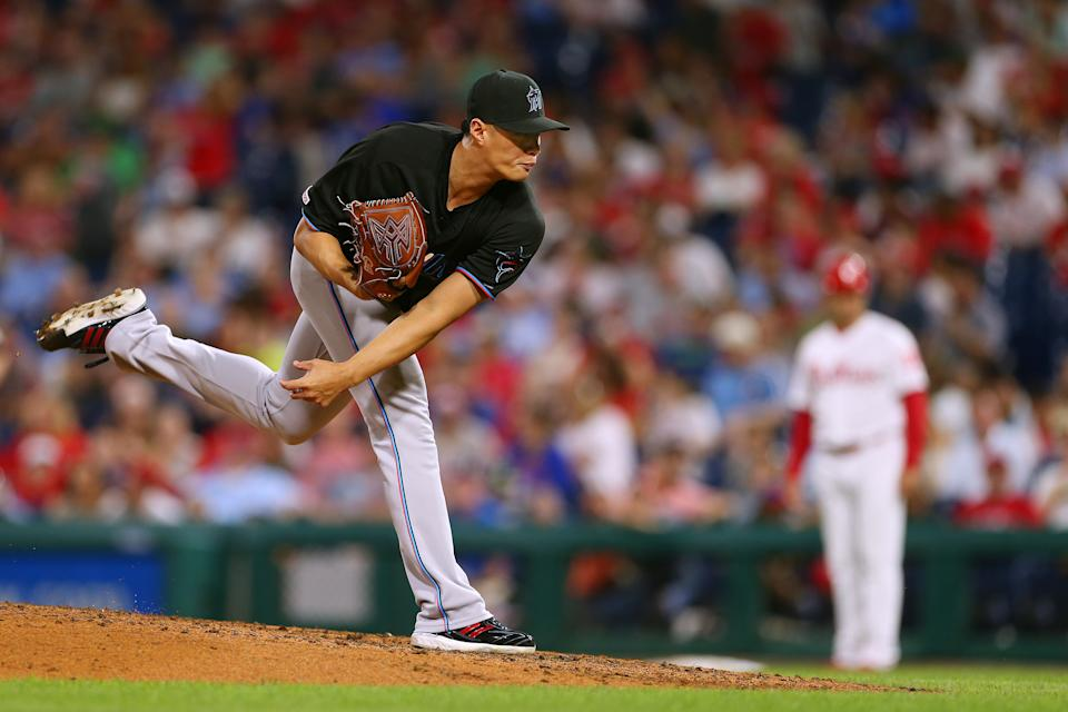 PHILADELPHIA, PA - SEPTEMBER 28: Wei-Yin Chen #20 of the Miami Marlins in action against the Philadelphia Phillies during a game at Citizens Bank Park on September 28, 2019 in Philadelphia, Pennsylvania. (Photo by Rich Schultz/Getty Images)