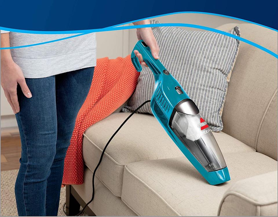 The Bissell Featherweight Turbo Lightweight Stick Vacuum easily converts to a handheld vacuum,
