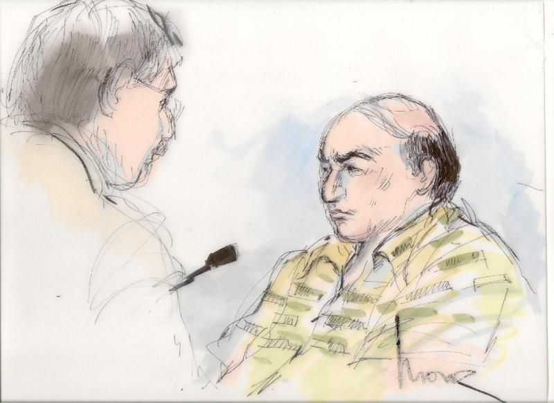 File-This Sept. 27, 2012 file courtroom sketch shows shows Mark Basseley Youssef talking with his attorney Steven Seiden, left, in court in Los Angeles. Youssef received a one-year sentence Wednesday Nov. 7, 2012, in federal prison for parole violation.  (AP Photo/Mona Shafer Edwards, file)