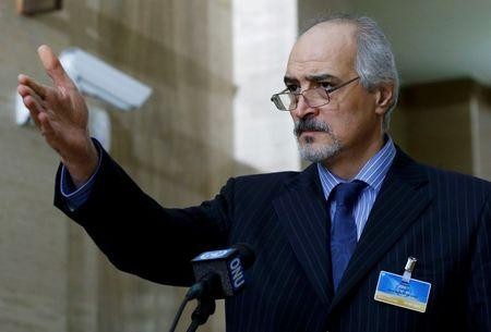 Syrian Ambassador to the U.N. Bashar Jaafari holds a news conference during the Syrian Peace talks at the United Nations European headquarters in Geneva, Switzerland, February 2, 2016. REUTERS/Denis Balibouse