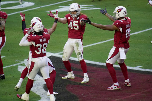 Arizona Cardinals linebacker Dennis Gardeck (45) celebrates his sack of Philadelphia Eagles quarterback Jalen Hurts during the first half of an NFL football game, Sunday, Dec. 20, 2020, in Glendale, Ariz. (AP Photo/Ross D. Franklin)