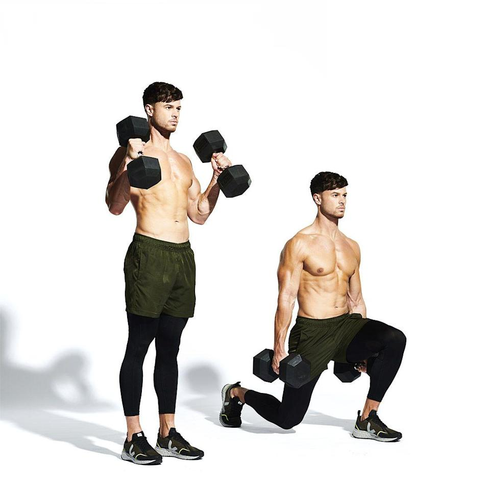 <p>Still holding the weights, bring your feet together (<strong>A</strong>). Step back with your right leg and slowly lower your knee until it's about an inch above the floor (<strong>B</strong>). Maintaining your balance, push through your left heel to step back to the start. Repeat on the opposite side.</p>