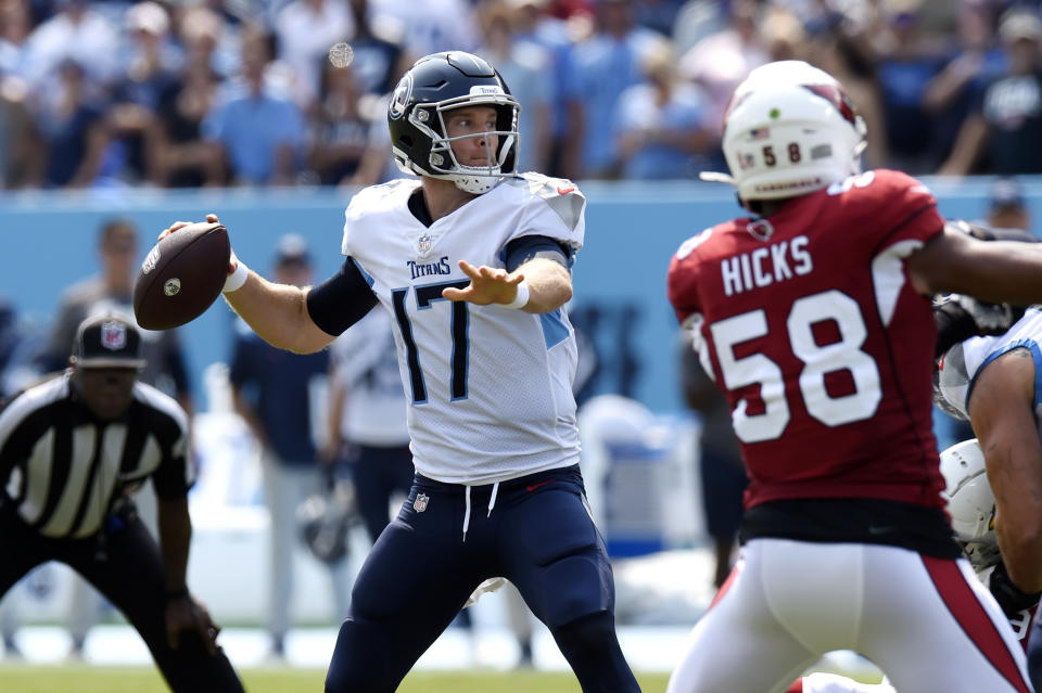 Tennessee Titans quarterback Ryan Tannehill (17) plays against the Arizona Cardinals in the first half of an NFL football game Sunday, Sept. 12, 2021, in Nashville, Tenn. (AP Photo/Mark Zaleski)
