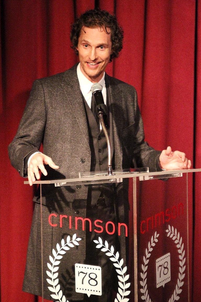 """This Jan. 7, 2013 photo released by Starpix shows actor Matthew McConaughey speaking at the New York Film Critics Circle Awards at the Crimson Club in New York. Matthew McConaughey won the award for best supporting actor for his performances in """"Bernie,"""" and """"Magic Mike."""" (AP Photo/Starpix, Kristina Bumphrey)"""