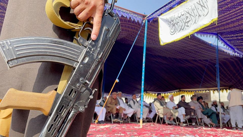 KABUL, AFGHANISTAN - SEPTEMBER 23: Number of people gather to announce their support for Taliban at Deh Sabz District outskirt Kabul, Afghanistan on September 23, 2021. (Photo by Haroon Sabawoon/Anadolu Agency via Getty Images)