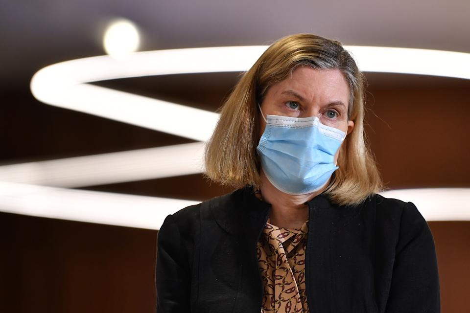 NSW Chief Health Officer Kerry Chant looks on during a press conference in Sydney, Tuesday. Source: AAP