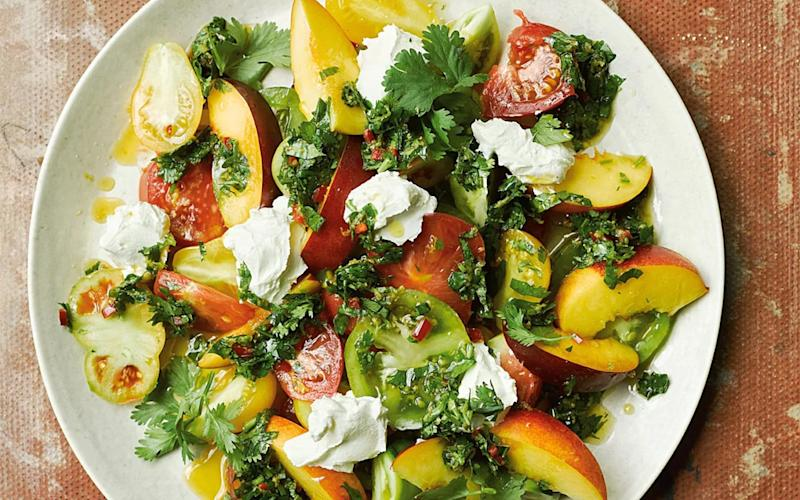 Salad of tomatoes, nectarines and labneh with chermoula - Haarala Hamilton and Valerie Berry