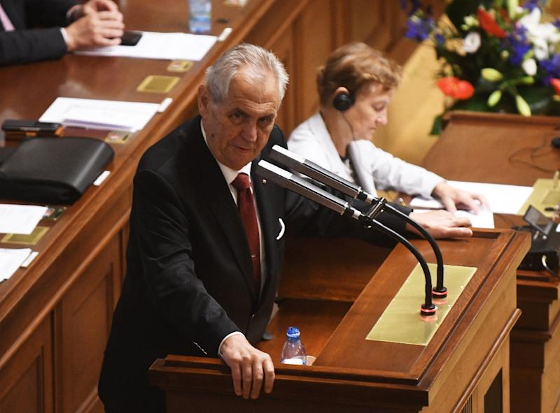 """Czech President Milos Zeman, pictured July 2018, released a joint statement with other Czech political leaders saying the opening of a """"Czech House"""" in Jerusalem would be """"the first step in the plan to move the Czech embassy"""" there"""
