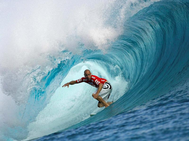 Surfing great Kelly Slater pictured at the legendary Teahupo'o beach in Tahiti: Reuters
