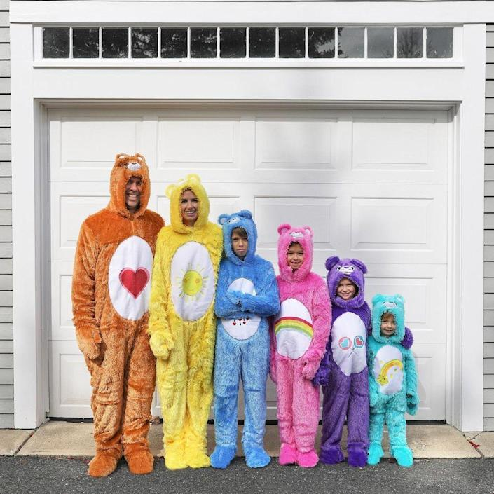 """<p>Caring is what counts—but, sometimes, so is a group costume that's easy to pull off at the last minute. Added bonus: these Care Bear onesies will keep you cozy while trick-or-treating in colder climates.  </p><p><strong>See more at <a href=""""https://www.instagram.com/p/CG8y2KoJ0tE/"""" rel=""""nofollow noopener"""" target=""""_blank"""" data-ylk=""""slk:@whatmomslove"""" class=""""link rapid-noclick-resp"""">@whatmomslove</a>. </strong></p><p><a class=""""link rapid-noclick-resp"""" href=""""https://www.amazon.com/Bears-Classic-Funshine-Costume-Yellow/dp/B076DMN6YY/ref=sr_1_10?tag=syn-yahoo-20&ascsubtag=%5Bartid%7C10050.g.32906192%5Bsrc%7Cyahoo-us"""" rel=""""nofollow noopener"""" target=""""_blank"""" data-ylk=""""slk:Shop Care Bear Onesies"""">Shop Care Bear Onesies</a><br></p>"""