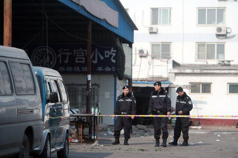 Chinese police in Sanhe, Hebei province, on January 7, 2009