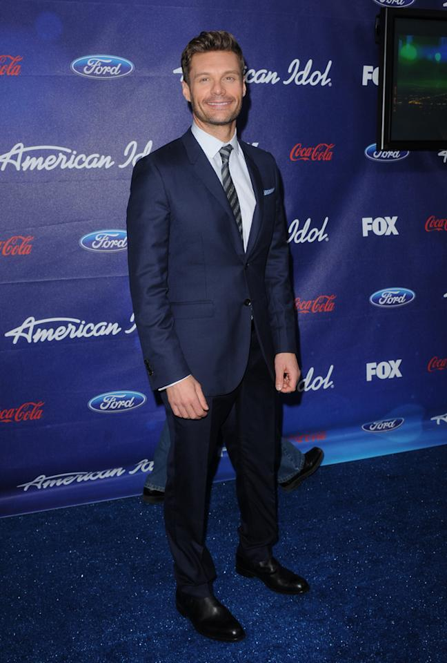 "Ryan Seacrest attends the Season 11 ""<a href=""http://tv.yahoo.com/american-idol/show/34934"">American Idol</a>"" Top 13 Finalists Party on Thursday, March 1 at The Grove in Los Angeles, CA."