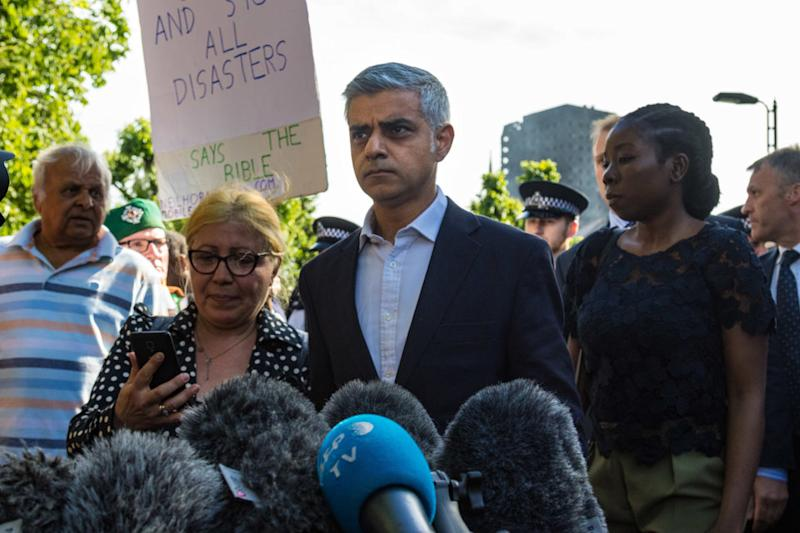 Sadiq Khan visits the day after the fire