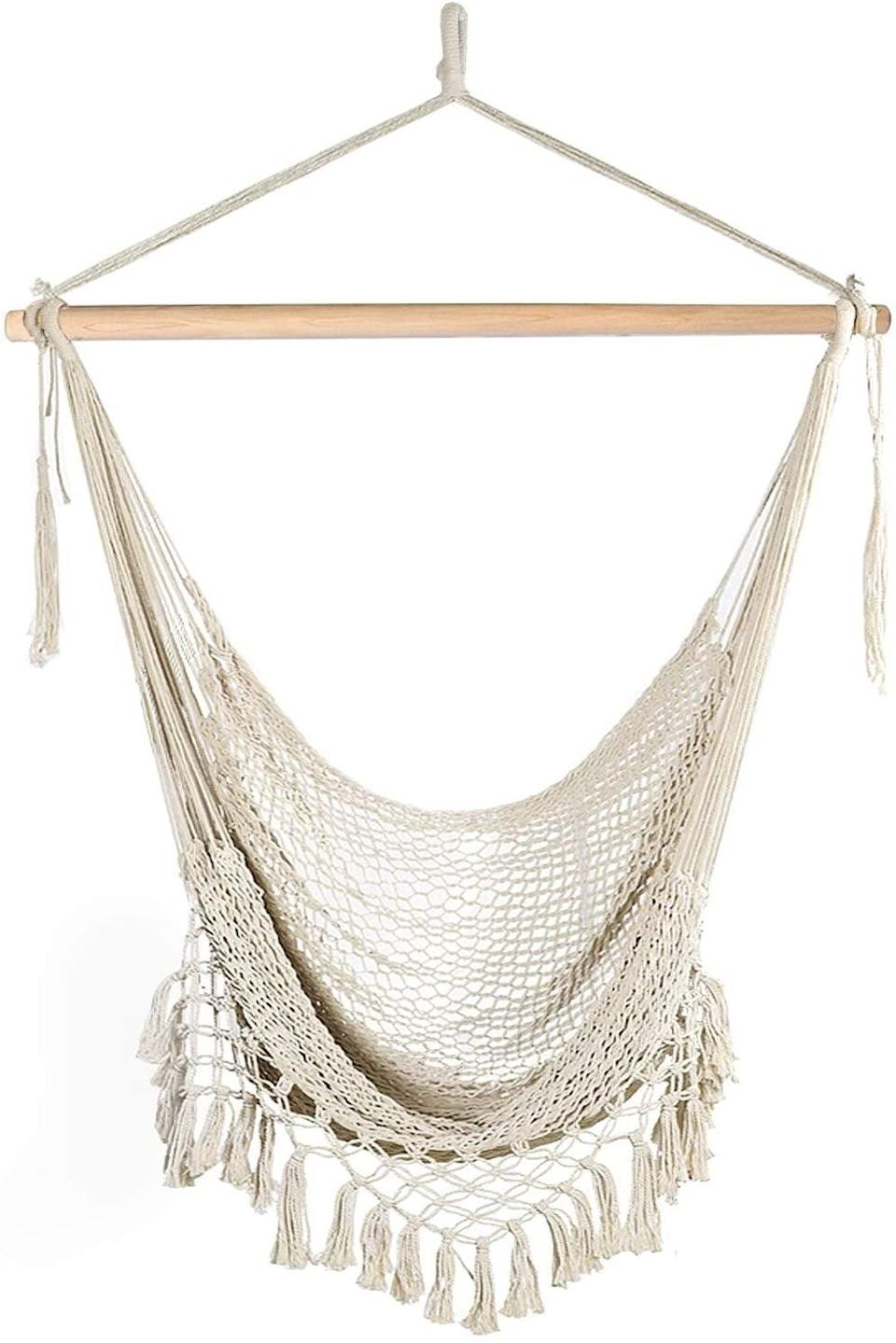 <p>You can't go wrong with the cozy and comfortable <span>Chihee Soft-Spun Cotton Hammock Chair</span> ($40).</p>