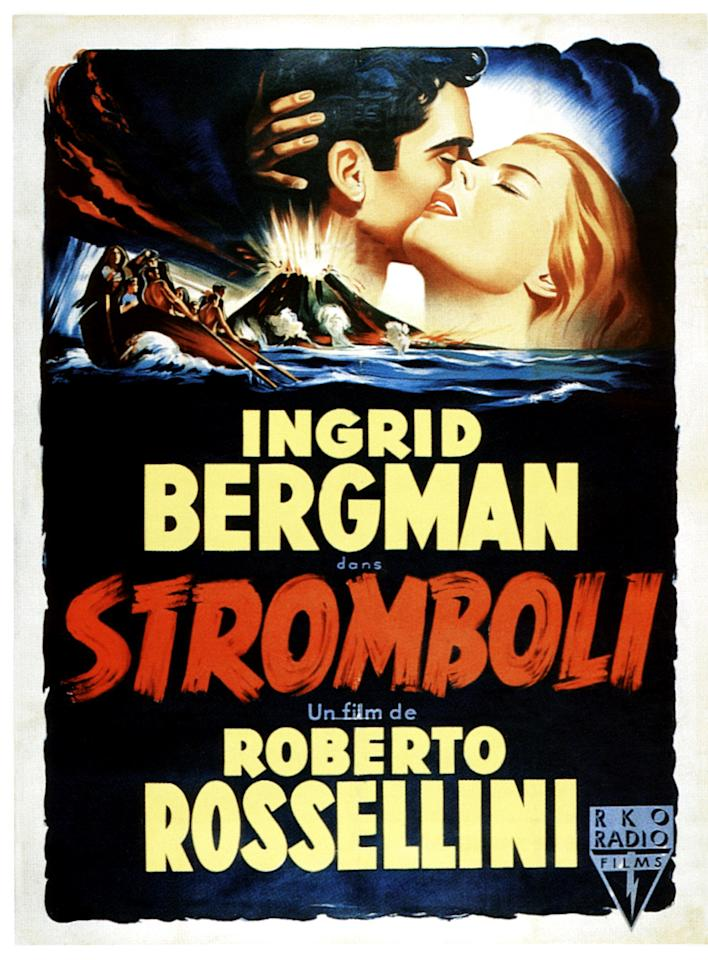 'Stromboli' (1950) – Ingrid Bergman & Roberto Rossellini Here's some extra-marital business that ended in real trouble…When Swedish actress Ingrid Bergman wrote to the Italian auteur Roberto Rossellini to tell him how much she admired his work, he immediately invited her to collaborate with him. This partnership turned physical and she left her dentist husband Petter Lindström for the director. Bergman was vilified in the US for her affair and was even denounced on the floor of the US Senate by senator Edwin Johnson for her 'indecent behaviour'. Which seems a bit harsh…