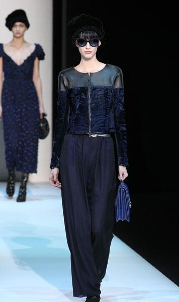 <b>Milan Fashion Week AW13: Giorgio Armani </b><br><br>Navy was a key look on the catwalk.<br><br>© Getty