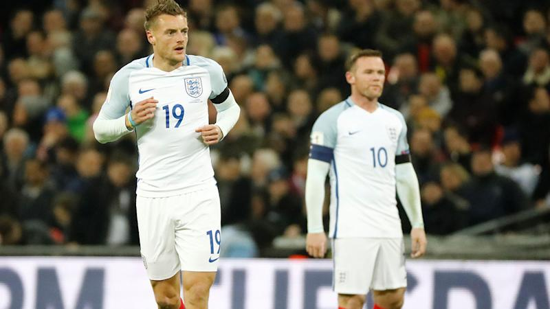 Jamie Vardy and Wayne Rooney, pictured here in action for England in 2016.