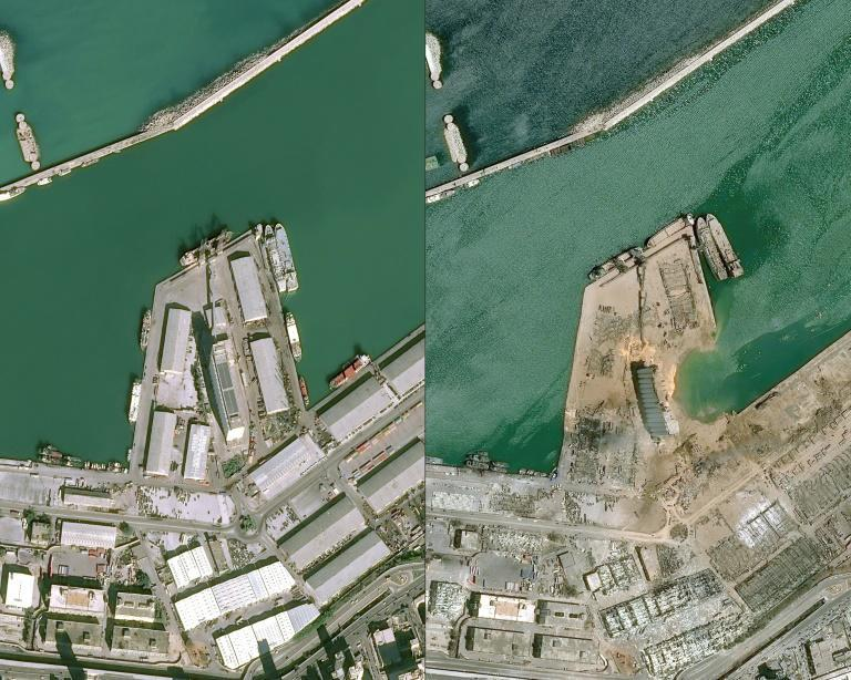 Satellite images show Beirut's port before and after Tuesday's massive blast