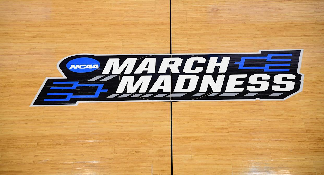 Mar 20, 2019; Salt Lake City, UT, USA; General overall view of the March Madness logo at center court before the first round of the 2019 NCAA Tournament at Vivint Smart Home Arena. Kirby Lee-USA TODAY Sports