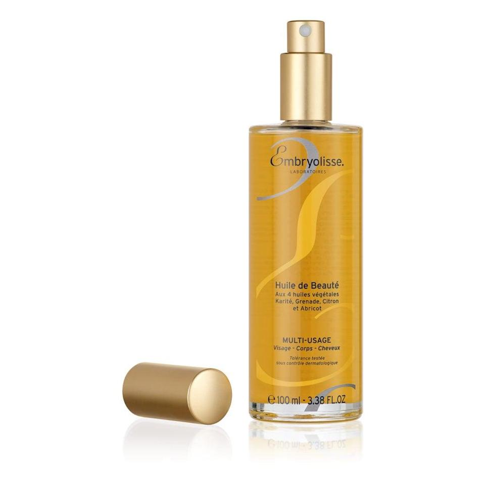 """<h3>Embryolisse Beauty Oil</h3> <br>""""Spritzed generously onto my shoulders, arms, legs, and chest (or décolletage, as Embryolisse's French origins would have it) right after a shower when my skin is still damp, this dry oil makes me look and smell <em>rich</em>. The non-greasy texture is perfect for summer, as is the subtle floral scent, and the blend of hydrating oils and shea butter extract imparts a sexy, satiny sheen that won't leave splotches on your white tank tops. It also layers beautifully over or under sunscreen, which is essential whether you're in Saint-Tropez or a studio apartment."""" — Krause<br><br><strong>Embryolisse</strong> Beauty Oil, $, available at <a href=""""https://go.skimresources.com/?id=30283X879131&url=https%3A%2F%2Fus.embryolisse.com%2Fshop%2Fbeauty-oil%2F%3Fv%3D7516fd43adaa"""" rel=""""nofollow noopener"""" target=""""_blank"""" data-ylk=""""slk:Embryolisse"""" class=""""link rapid-noclick-resp"""">Embryolisse</a><br>"""