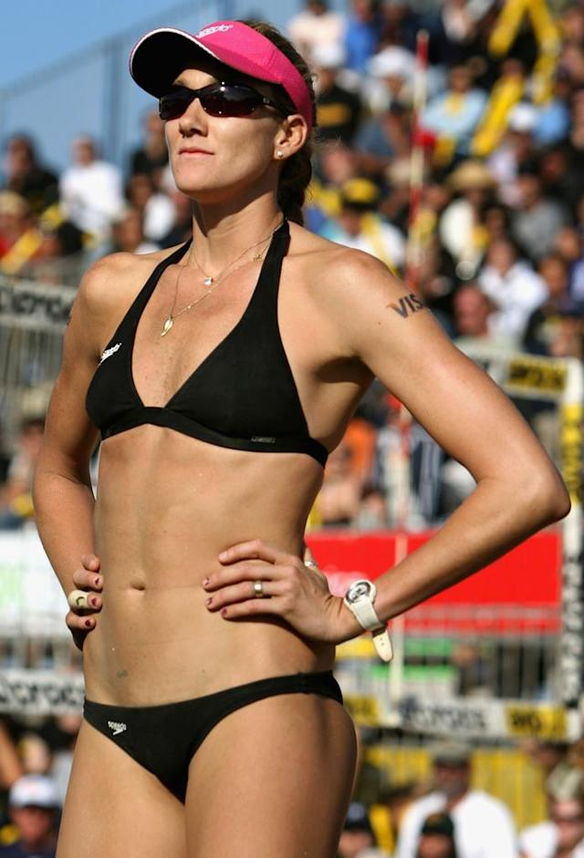 Kerri Walsh reacts after a lost point in the AVP San Francisco Best of the Beach Open final match at Pier 30/32 on September 16, 2007 in San Francisco, California. Misty May-Treanor and Kerri Walsh defeated Nicole Branagh and Elaine Youngs 21-14, 28-26.