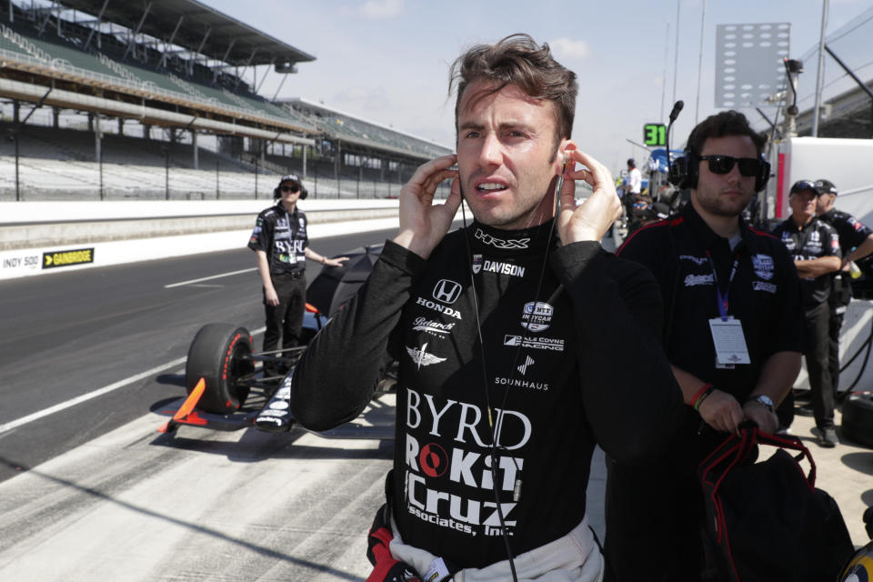 James Davison, of Australia, prepares to drive during practice for the Indianapolis 500 IndyCar auto race at Indianapolis Motor Speedway, Thursday, May 16, 2019 in Indianapolis. (AP Photo/Michael Conroy)