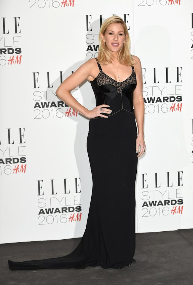 <p>Goulding accessorized her simple black dress with a gold body chain. (<i>Photo: Getty Images)</i></p>