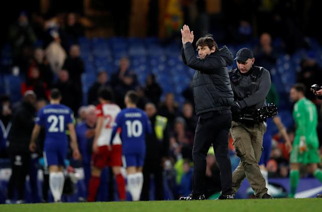 "Soccer Football - Premier League - Chelsea vs West Bromwich Albion - Stamford Bridge, London, Britain - February 12, 2018 Chelsea manager Antonio Conte celebrates after the match REUTERS/Eddie Keogh EDITORIAL USE ONLY. No use with unauthorized audio, video, data, fixture lists, club/league logos or ""live"" services. Online in-match use limited to 75 images, no video emulation. No use in betting, games or single club/league/player publications. Please contact your account representative for further details."