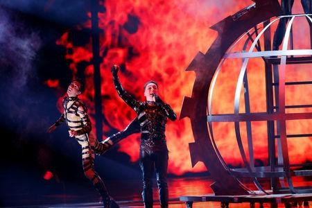 Participant Hatari of Iceland performs during the Grand Final of the 2019 Eurovision Song Contest in Tel Aviv, Israel