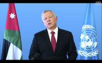 In this photo taken from video, King Abdullah II of Jordan, speaks remotely addresses the 76th session of the United Nations General Assembly in a pre-recorded message, Wednesday, Sept. 22, 2021, at UN headquarters. (UN Web TV via AP)