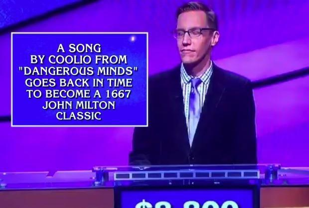 A game show contestant was deducting thousands from his winnings after mispronouncing the word 'gangsta'. Photo: Jeopardy!