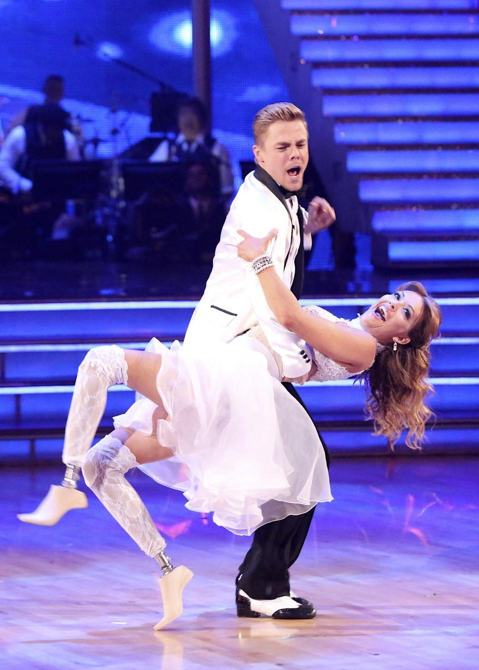 "<p>The pro snowboarder was rushed to the hospital during a live show. Amy displaced her rib during her season 18 rumba with her pro partner Derek Hough. She shared health updates with her fans on <a href=""https://twitter.com/AmyPurdyGurl/status/461203164885053442"" rel=""nofollow noopener"" target=""_blank"" data-ylk=""slk:Twitter"" class=""link rapid-noclick-resp"">Twitter</a>: ""So, Looks like I have a rib out of place and my muscles are in spasm. I am being very proactive in healing up so I can continue this journey.""</p>"