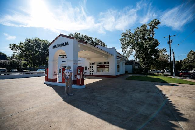 The restored Magnolia gas station beside Little Rock Central High School.
