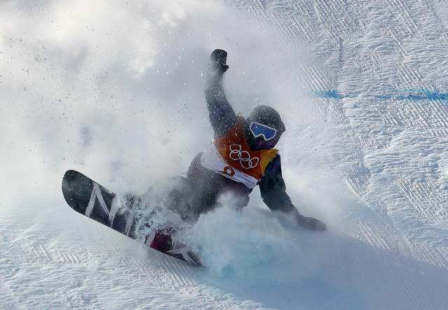 <p>Torgeir Bergrem, of Norway, crashes during the men's slopestyle final at Phoenix Snow Park at the 2018 Winter Olympics in Pyeongchang, South Korea, Sunday, Feb. 11, 2018. (AP Photo/Lee Jin-man) </p>