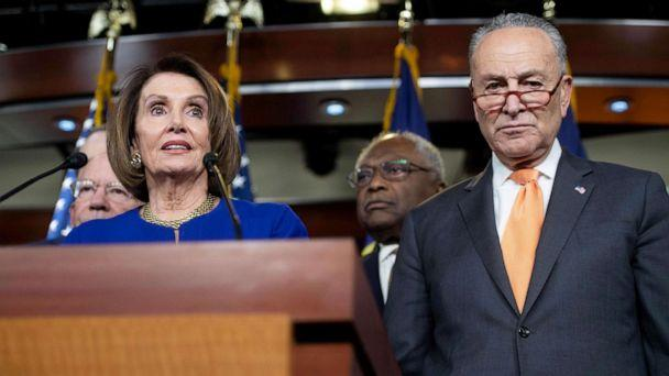 PHOTO: Speaker of the House Nancy Pelosi and Senate Democratic Leader Chuck Schumer hold a press conference on Capitol Hill in Washington, DC, May 22, 2019, following a meeting with US President Donald Trump at the White House. (Saul Loeb/AFP/Getty Images)