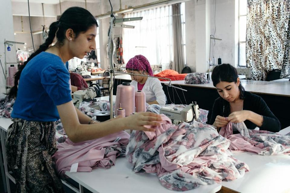 Workers in a small garment factory in Istanbul