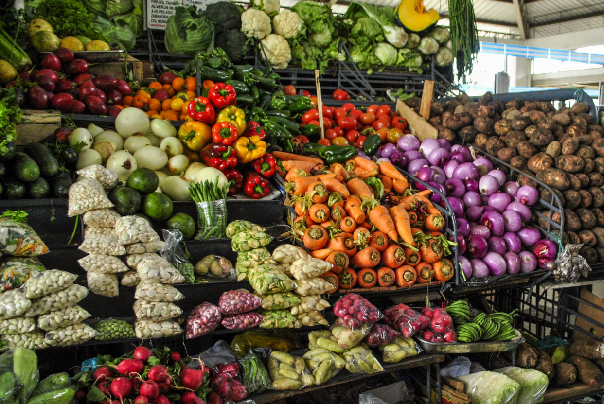 Vegetable stall of a municipal market. Guayaquil, Ecuador. (Photo by: Martha Barreno /VW Pics/Universal Images Group via Getty Images)